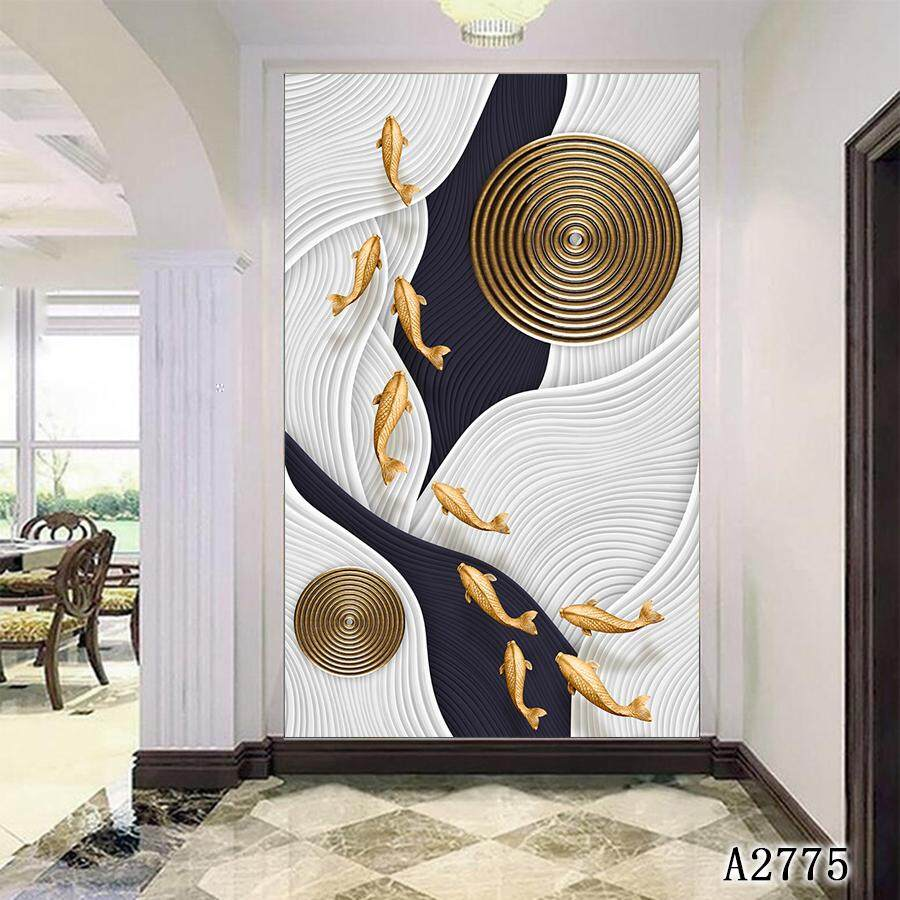 Single Panel Canvas, Wall Art Picture, Canvas Painting, Decorative Picture, 60*100 cm, Fish, Abstract Design, Blue, White