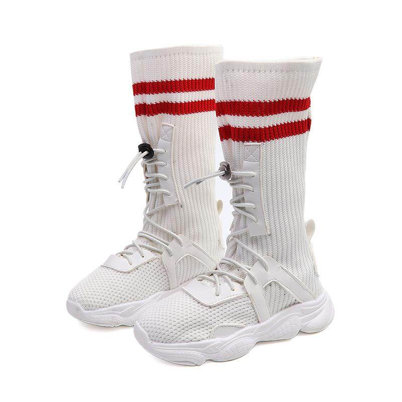 Giá bán Spring/summer Winter New Childrens Sports Shoes Breathable Boys And Girls Fly Woven Casual High Socks Shoes Fashion Boots