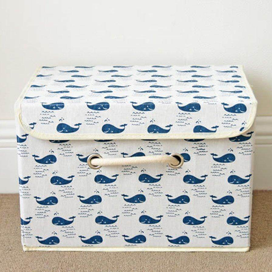 Best Seller Cotton Hemp Home foldable storage square box Large whale daily supplies