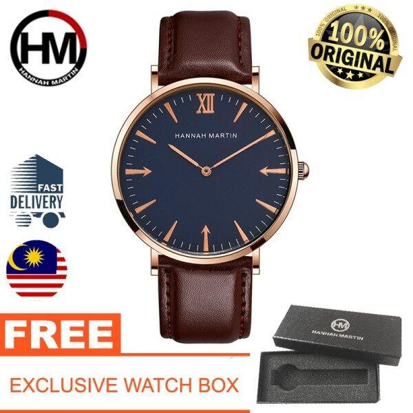 [Authentic 2 Years International Warranty] HANNAH MARTIN Classic Leather With Warranty Card Luxury Men Women Watch Malaysia