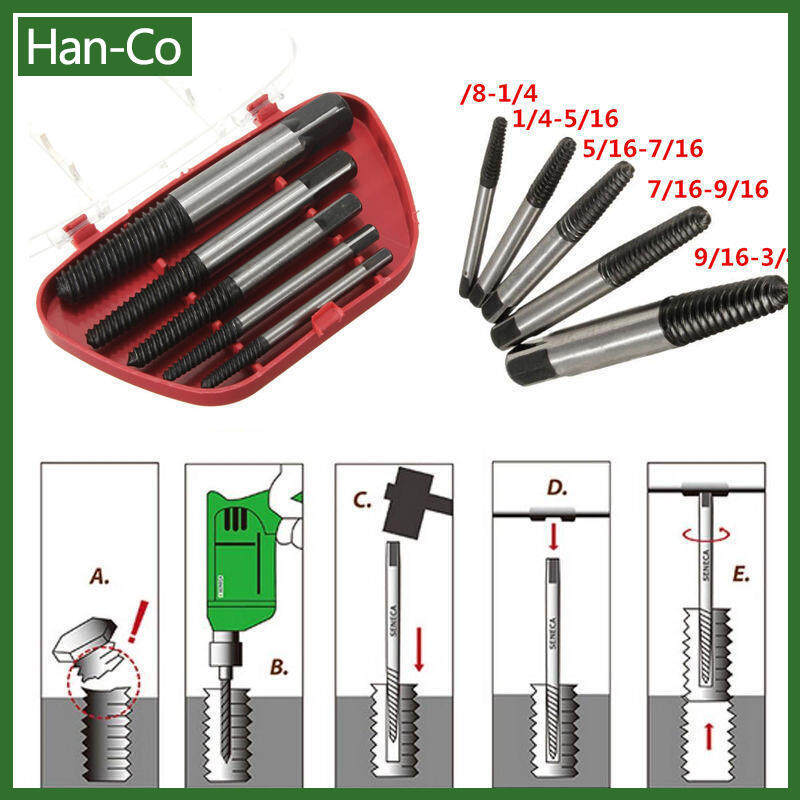 [Any 2 Items Discout 5%][Free Shipping]5Pcs Screw Extractor Easy Out Set Drill Bits Guide Broken Damaged Bolt Remover SA603 P0.11