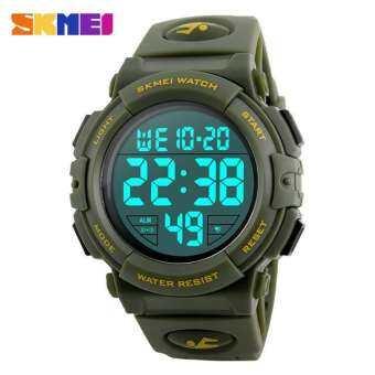 Skmei ใหม่กีฬานาฬิกาผู้ชายโครโนกราฟ LED ขนาดใหญ่แฟชั่นนาฬิกาดิจิตอลผู้ชายกันน้ำสไตล์เครื่องแบบนาฬิกา