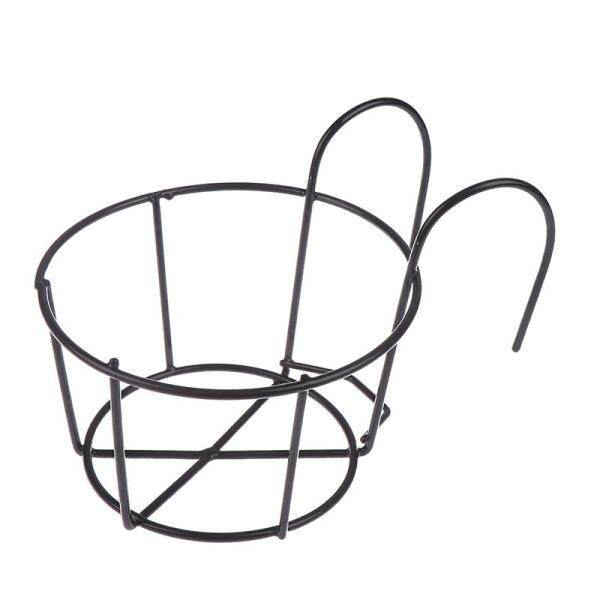 CANAMEK Outdoor Hanging Plant Iron Racks Fence Balcony Round Flower Pot Garden Supplies