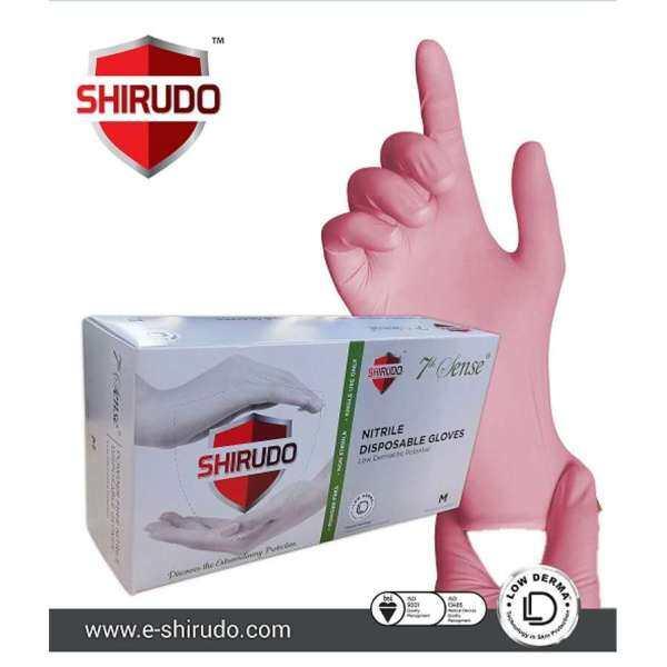 Shirudo 7thSense Nitrile Disposable Glove Low Derma - Pink (9/4.2g/100pcs) - Powder Free