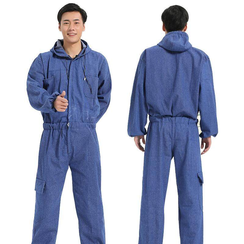 Mens Work Clothing Long Sleeve Denim Coveralls Dustproof Clothes Hooded Overalls Worker Repairman Machine Auto Repair Uniforms
