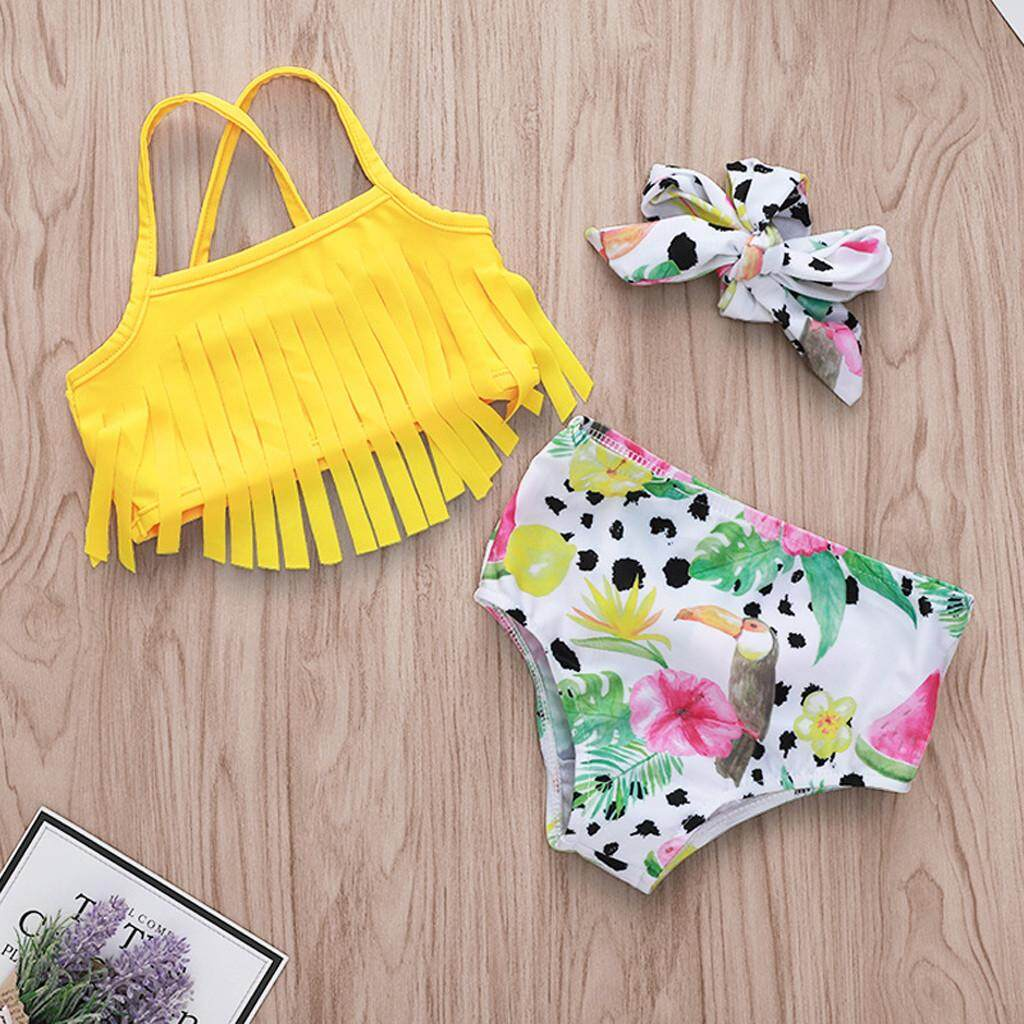 Official Website 3pcs Set Girls Kids Summer Beach Bathing Bikini Swimwear Dress Outfits Clothes Spare No Cost At Any Cost Clothing Sets
