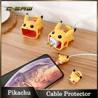 C-SAW Pikachu Cáp Sạc USB Đồ Bảo Vệ Dây Bảo Vệ Giá Đỡ Dây Dễ Thương Cho iPhone 12 11pro Max X XR USB Trường Hợp Bảo Vệ, Vỏ Bọc Cáp Tai Nghe thumbnail
