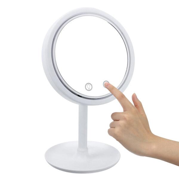 Gương Trang Điểm 3 Trong 1 Có Thể Điều Chỉnh Độ Sáng Với Quạt USB Sạc Selfie Ring Light Quà Tặng Cho Cô Gái Gương Trang Điểm LED Có Thể Xoay