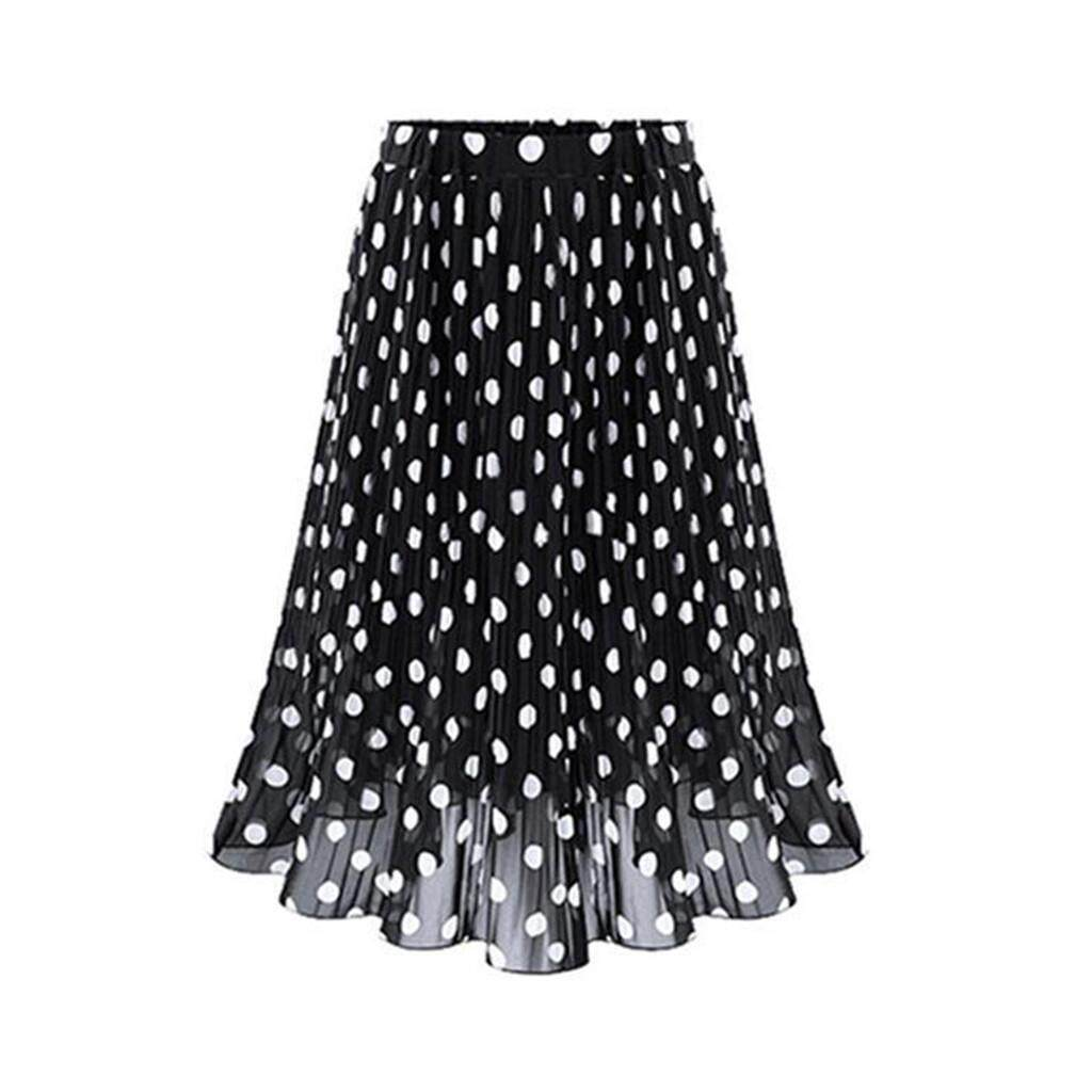 95d457dc58 Product details of 2019 New Fashion Womens Polka Dot Pleated High Waist Midi  Skirt Flared Skater Swing Holiday
