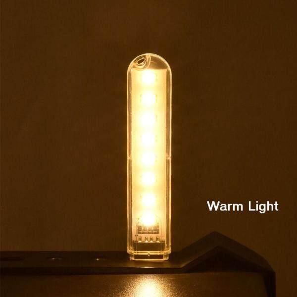 2PCS Portable Mini USB 8 LED Light Pocket Card Lamp Mobile Power Camping Laptop New