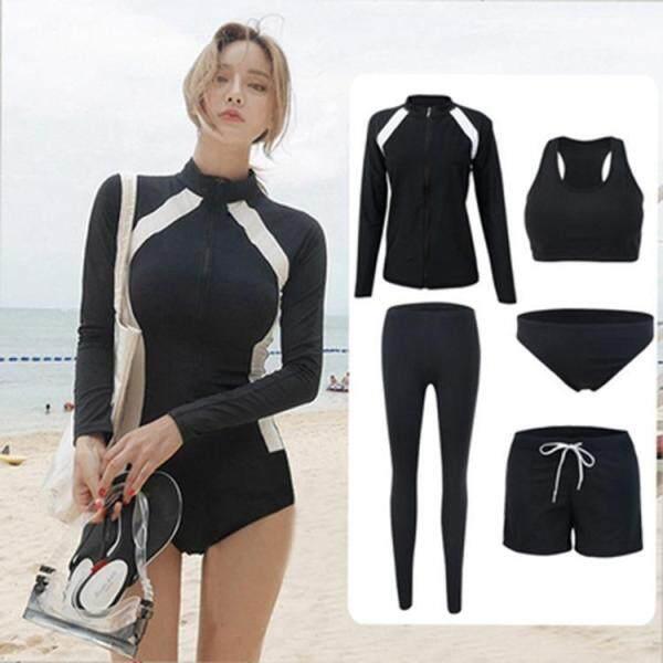 Bộ đồ bơi/ lặn tay dài gồm nhiều mảnh co giãn với miếng lót ngực gợi cảm phong cách tự nhiên thời trang Hàn Quốc - INTL