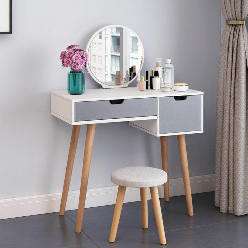 60x40x75cm, Vanity Set, Dressing Table with HD Round Mirror and Stool, 2 Drawers, Wood Legs, Easy Assembly