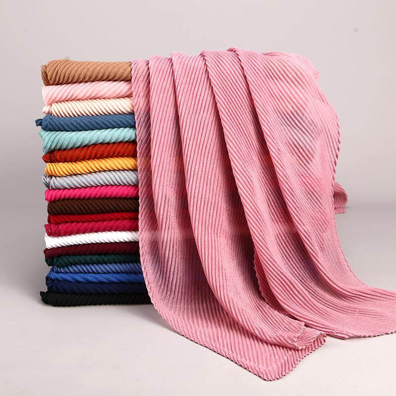 180X80 Cm Wanita Crimp Crinkle Jilbab Polos Lipit Crinkle Katun Linen Muslim Jilbab Kerut Persegi Panjang Pashmina Tudung Kepala membungkus Besar Panjang Syal Dasar Selendang 22 Warna WJ163