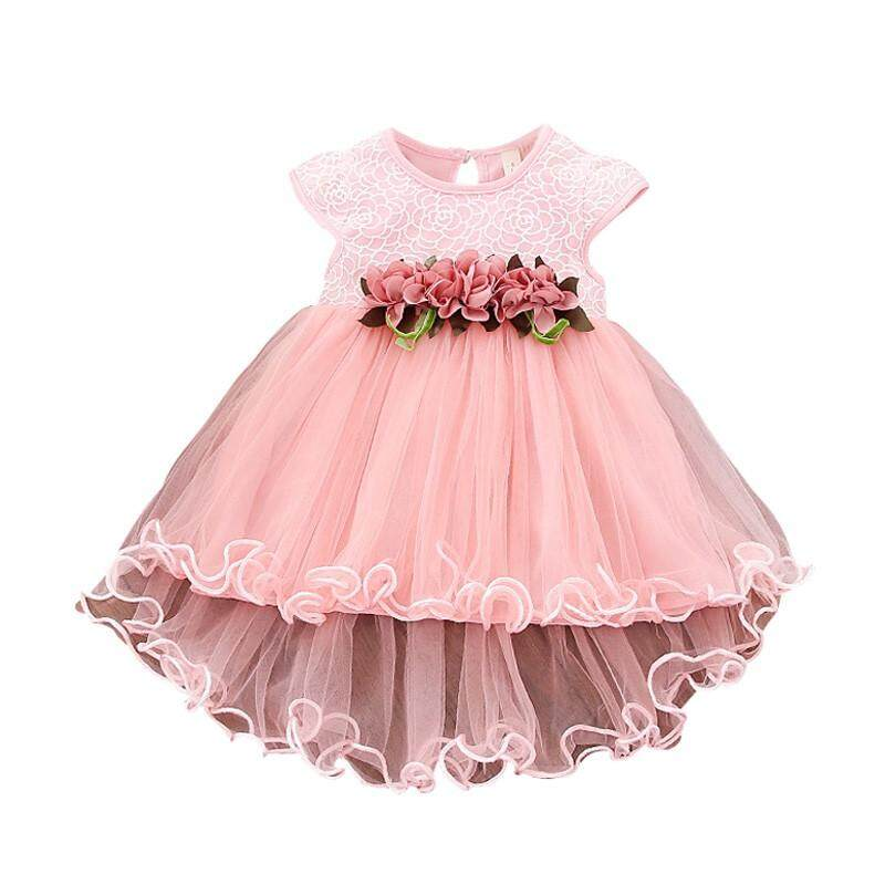 4d3fa683f7fbc Infant Kids Baby Girl Clothes Summer Floral Print Sleeveless Cotton  Princess Party Dresses Mesh Girls Clothes