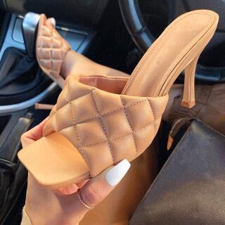 Hàng Mới Về Tháng 7 Năm 2020 Phụ Nữ Giày Hở Mũi PU Ảnh Hưởng Đến Giày Cao Gót Street Snap Giày Cao Gót Đế Xuồng thumbnail