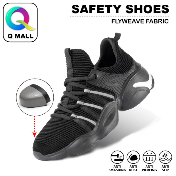 Q MALL Safety Shoes Sport Shoes Wear-Resistant Smash-Proof Anti-Piercing Flying Woven Breathable Protective Shoes - 810 BLACK WHITE
