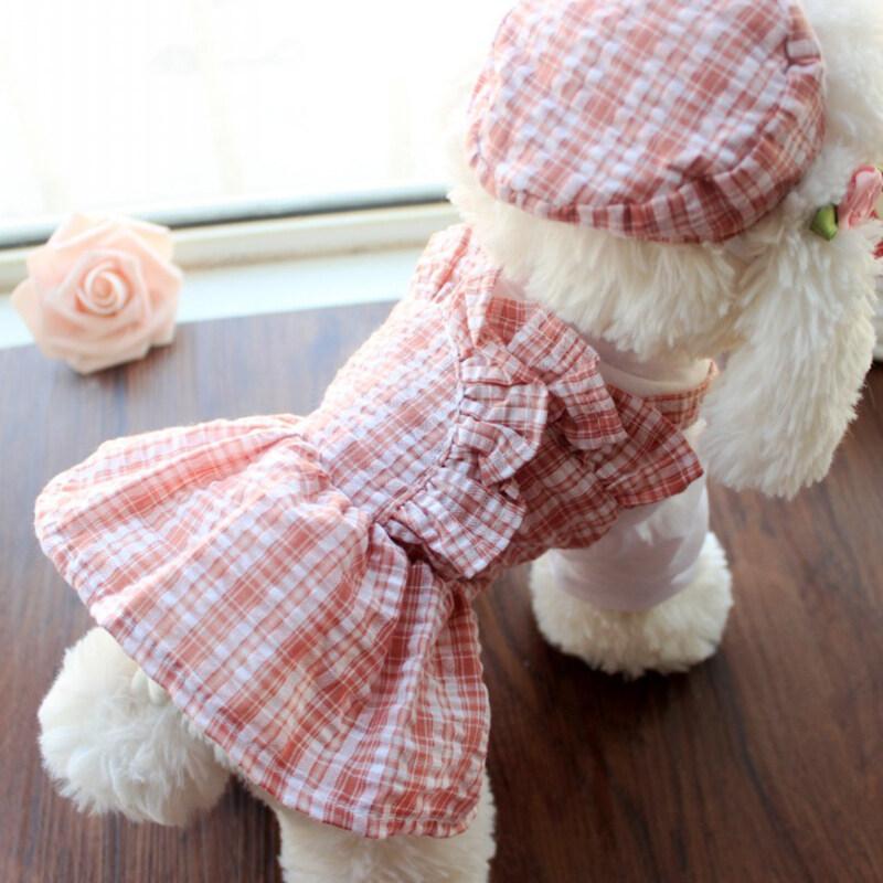 2 Cái/bộ Vật Cưng Váy Bộ Trang Phục Kèm Mũ, Thiết Kế Kẻ Sọc, Thoáng Khí Cho Chó Mèo Chó Con Mèo Con Mùa Hè
