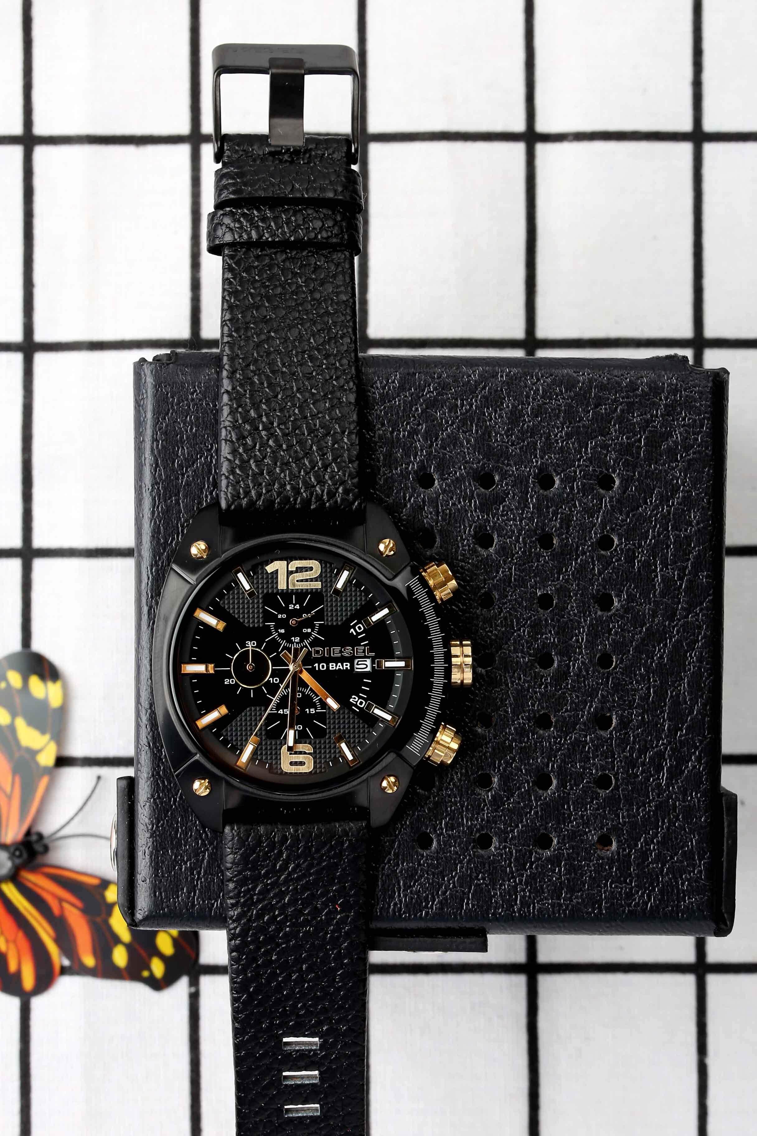 ยี่ห้อไหนดี  นครศรีธรรมราช Genuine Products Waterproof Diesel_Military Series. Three-Eye Timing Fashion casual watchMineral Toughened Glass Mirror .Japanese Quartz Core. Resin Strap .