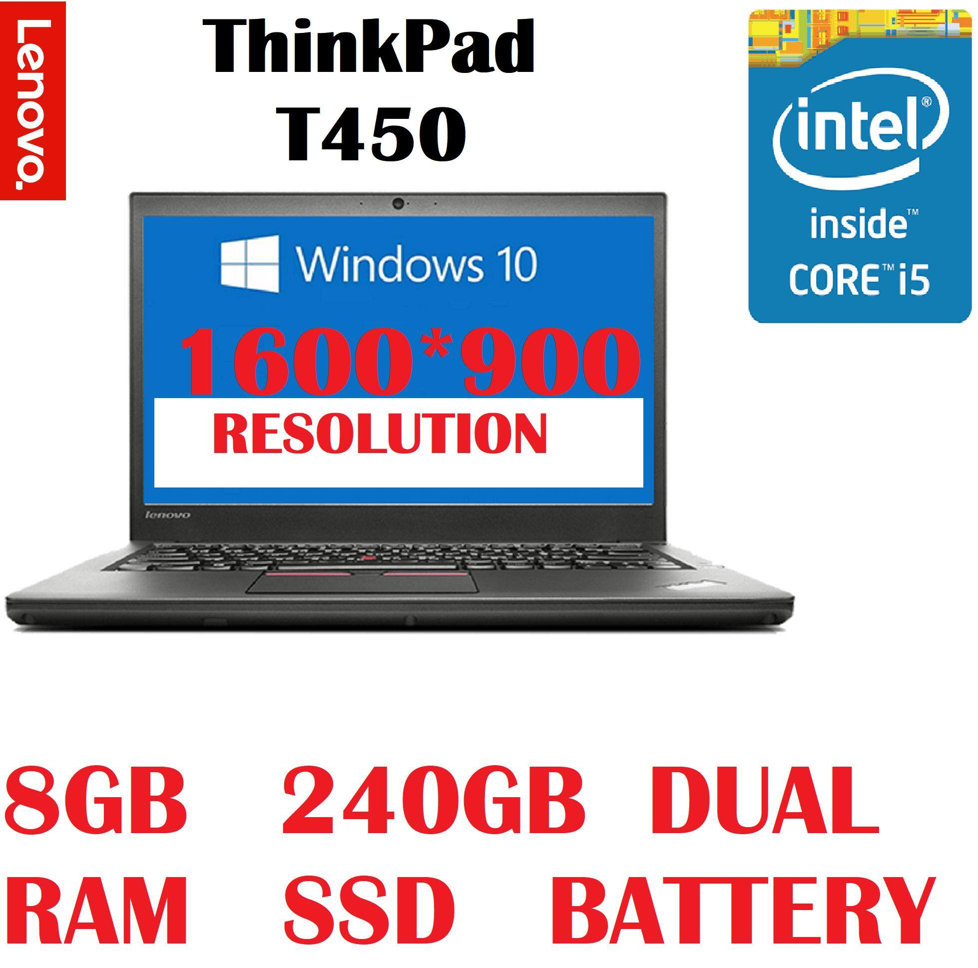 Refurbished Lenovo ThinkPad T450 INTEL CORE i5-5300U 2 3GHZ 5TH GEN CPU/8GB  DDR3 RAM/240GB SSD/14