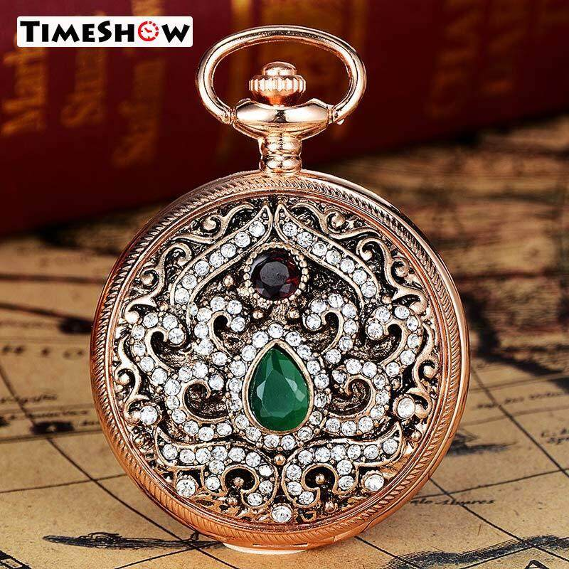 TimeShow Gold Vintage Women Diamond Carved Pocket Watch Without Chain Jewelry Watch For Women Gift XR2401 Malaysia
