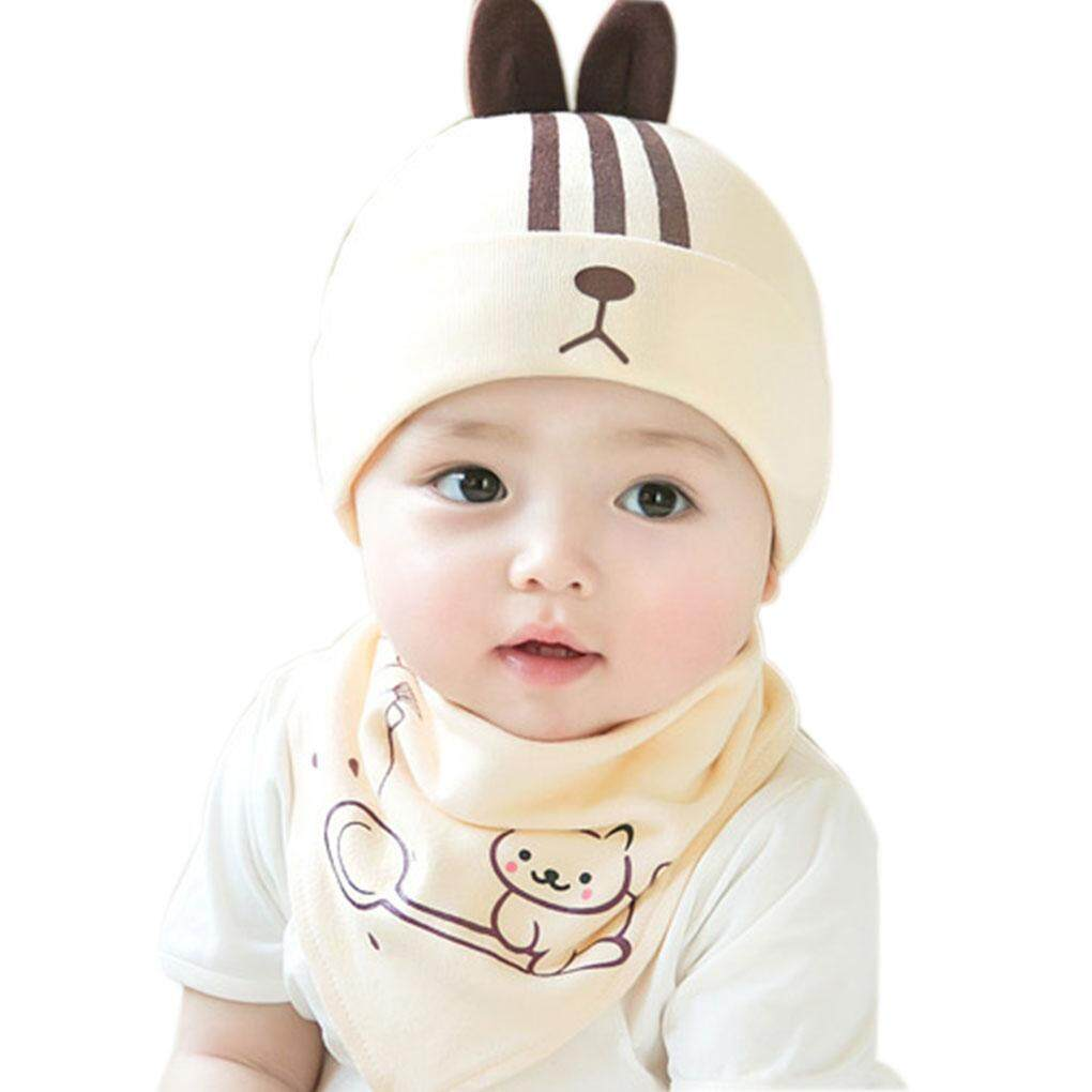 Cartoon Design Baby Infants Warm Hat Scarf Toddlers Autumn/Winter Beanie Cap Set Free Size