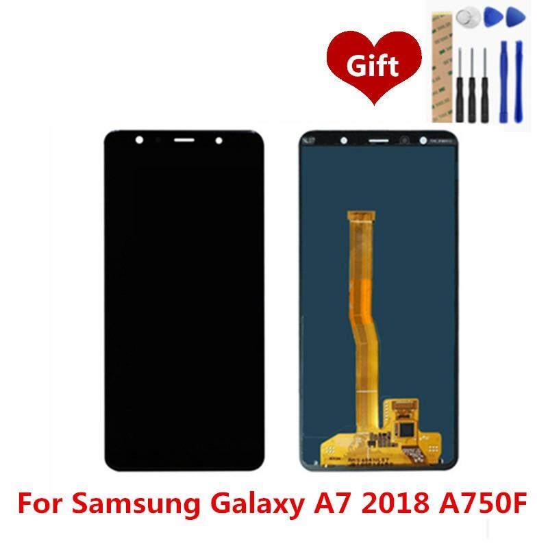 Untuk Samsung Galaxy A7 2018 A750F Layar LCD Digitiser Lengkap LCD Layar Sentuh Panel Perakitan Pengganti Suku Cadang 6.0 Inch