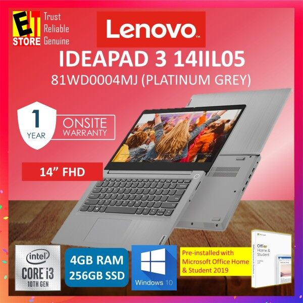 LENOVO IDEAPAD 3-14IIL05 81WD0004MJ LAPTOP -PLATINUM GREY (I3-1005G1/4GB/256GB SSD/14.0 FHD/W10/1YR) WITH MS. OFFICE Malaysia