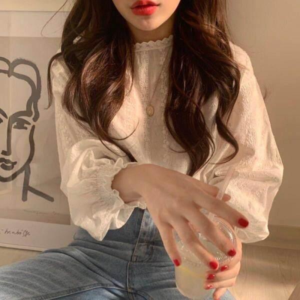 Huaang01 Áo tay dài vải ren trắng nhún bèo dáng rộng phong cách Hàn quốc cho nữ - INTL