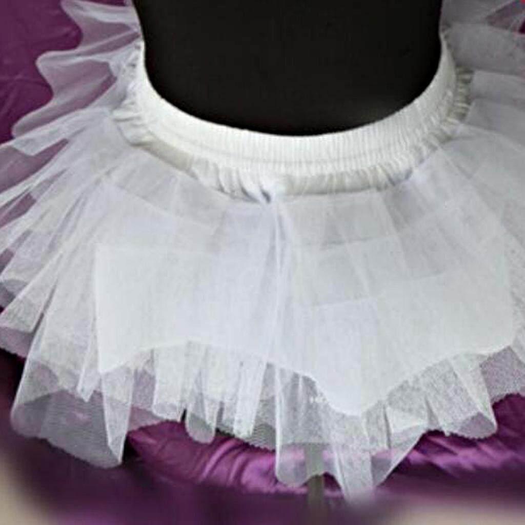 3a7a7a94574 Fenteer Kids Girls 3-Layer Tulle No Hoop Wedding Gown Petticoat Crinoline  TuTu Underskirt White