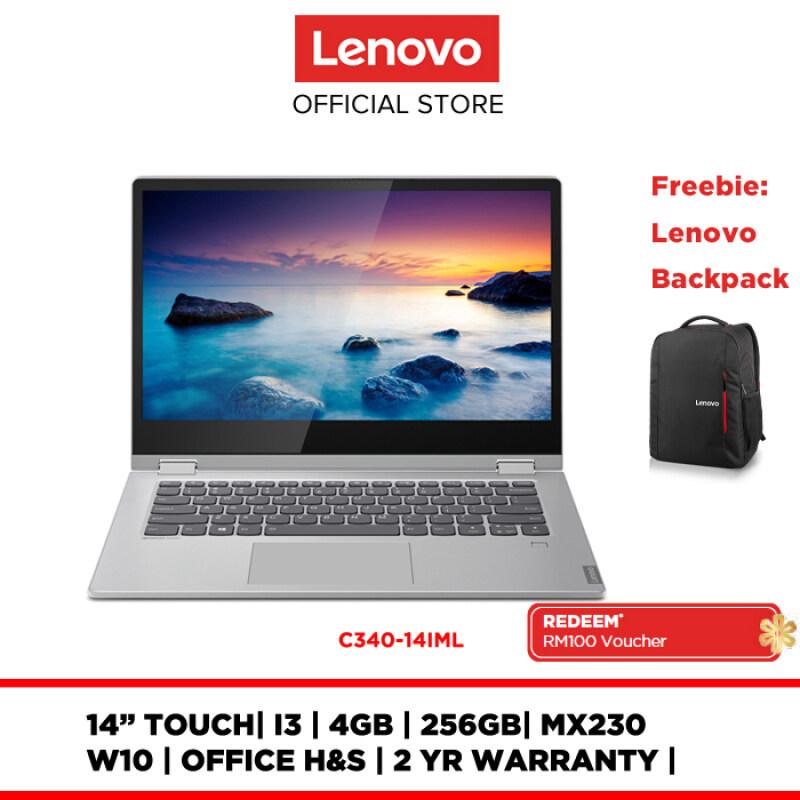 Lenovo Notebook Laptop YOGA C340-14IML 81TK008UMJ 14 /I3/4GB/256GB/MX230/W10H/OFFICE H&S/2YR WARRANTY Malaysia