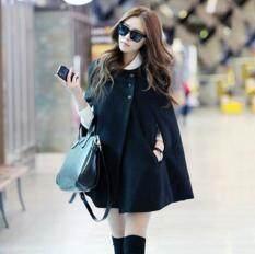 Nữ Hàn Quốc Fashin Oversize Len Dài Áo Khoác Áo Khoác Đen Rời Khăn Choàng Áo Khoác