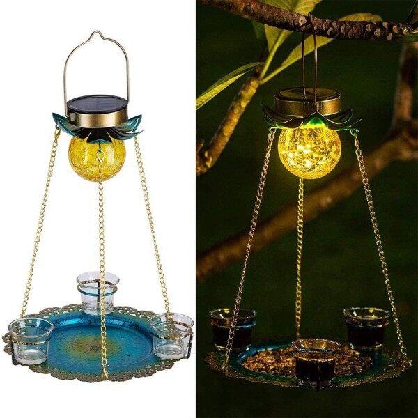 Năng Lượng Mặt Trời Bird Feeder, Nhà Chim, Đèn Cầu Thủy Tinh Có Đèn LED Hình Cầu Uống Nước Chạy Bằng Năng Lượng Mặt Trời Không Thấm Nước Để Trang Trí Sân Vườn