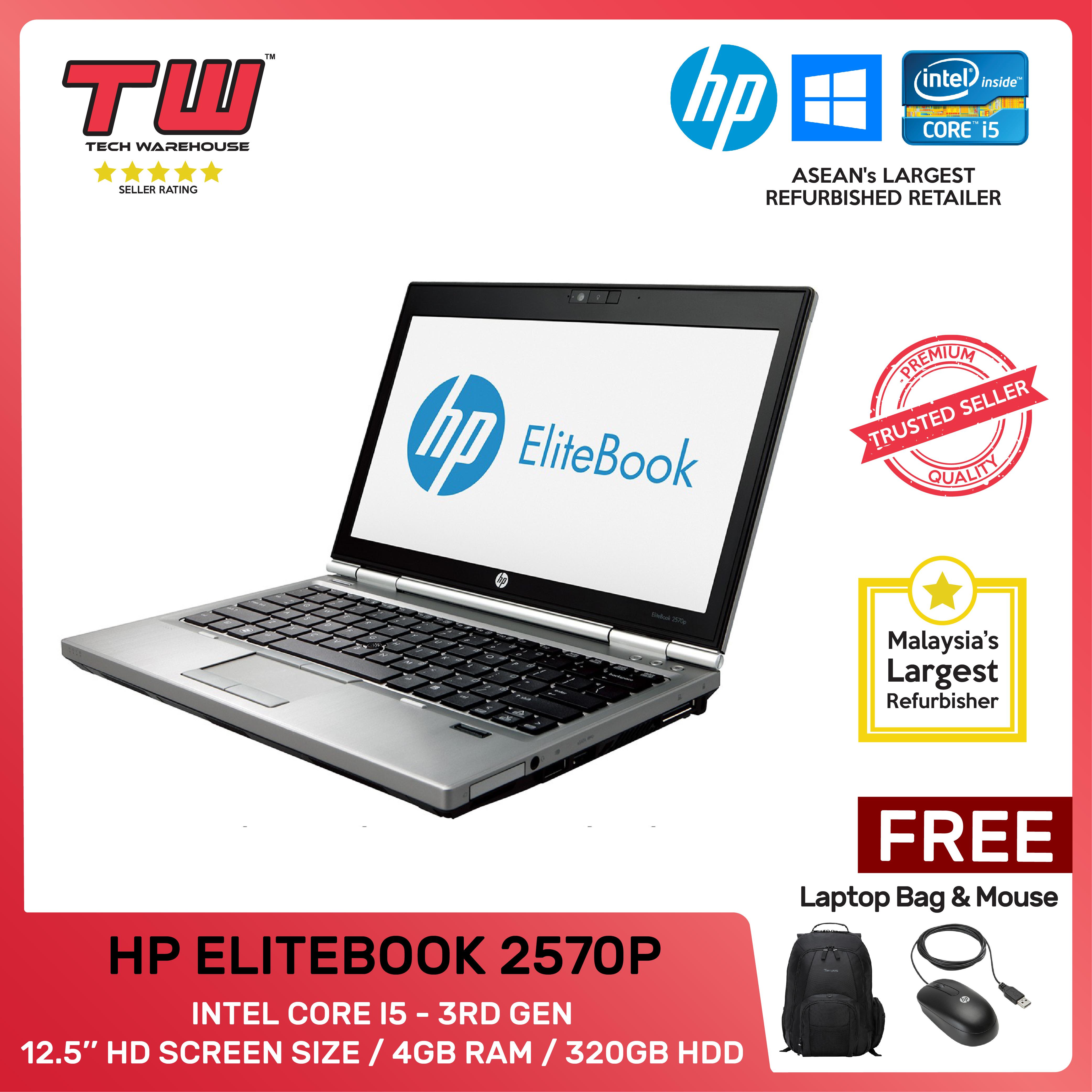 HP ELITEBOOK 2570p / INTEL CORE I5 3RD GEN / LAPTOP / 12.5/ 4GB RAM / 320GB HDD / TECH WAREHOUSE (FACTORY REFURBISHED) Malaysia