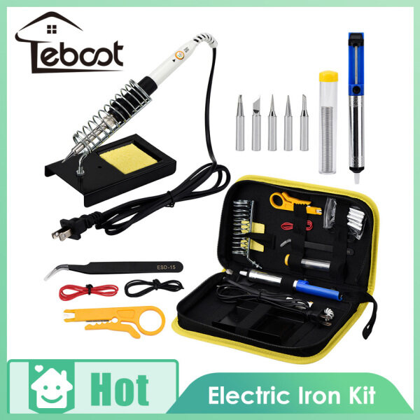 TeBoot 15-in-1 Soldering Iron Kit Electronics Welding Soldering Iron Tool With 5pcs Tips, Solder Wire, Stand Soldering Kits Portable Toolbox 220V 60W