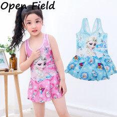 Field Kid Girl Đồ Bơi Jumpsuit Sling Dress Phim Hoạt Hình Công Chúa Áo Tắm Bãi Biển Mặc Cho 2-9Y
