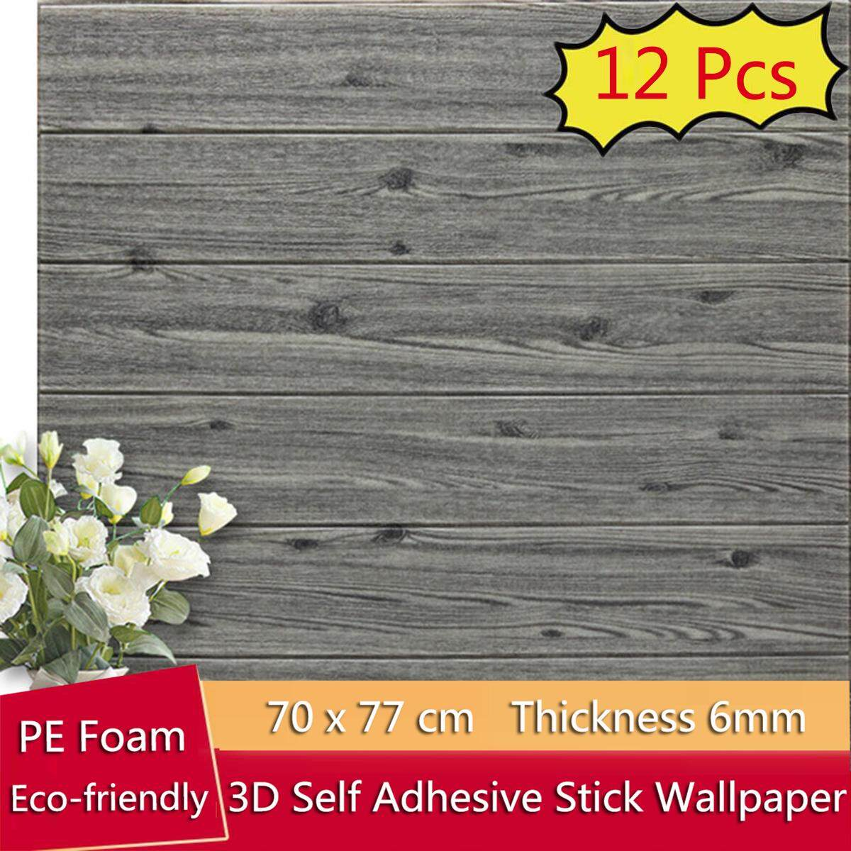 12PCS/Set 70x70cm 3D Wood Waterproof Wallpaper Wall affixed to the TV background Living Room Wall Decorated Bedroom
