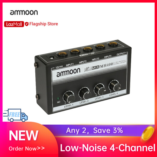 [New Arrival] ammoon MH400 Ultra Low-Noise 4-Channel Line Mixer Mini Audio Mixer with 1/4-inch TS Inputs & Output Volume Control for Guitars Bass Keyboards Malaysia