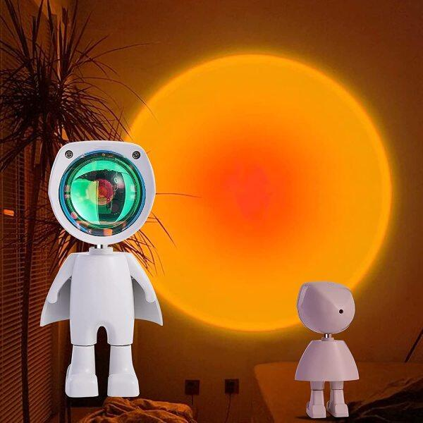 Bảng giá Đèn Hoàng Hôn LED Spaceman-Đèn Ngủ Chiếu Hoàng Hôn Cầu Vồng, Có Thu Phí Với USB Hoàng Hôn Chiếu Đèn Với Mô Hình Robot Máy Chiếu Đèn Hoàng Hôn Với Góc Xoay 360 Độ Để Chụp Ảnh/Chụp Ảnh Tự Sướng/Trang Trí Phòng Khách