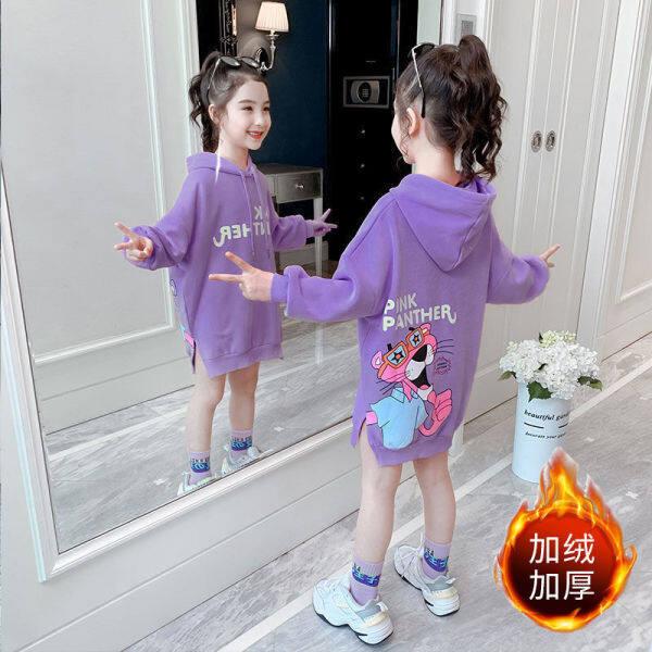 Giá bán Áo Len Xuân Thu Váy Lửng Dài Tay Mới 2021 Cho Bé Gái Cộng Với Nhung Dày