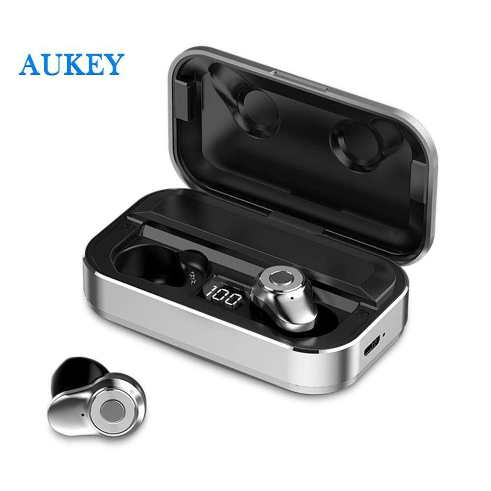 Aukey Mini Detailed Invisible Earphones Wireless Bluetooth Headphone Stereo Earset Aluminum TWS Sport Bass Calls To Answer Redial Voice Message LED Power Digital Display 3500mah
