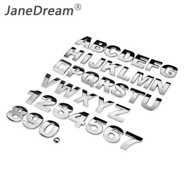 JaneDream 1 Cái DIY 3D Kim Bảng Chữ Cái Sticker Xe Biểu Tượng Thư Bạc Badge Decal (A-Z & 0-9)