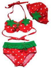 Bé Gái 3 Cái Áo Tắm In Dâu Tây Đồ Bơi Bộ Đồ Tắm Bikini Tankini Beachwear 1-5 Tuổi