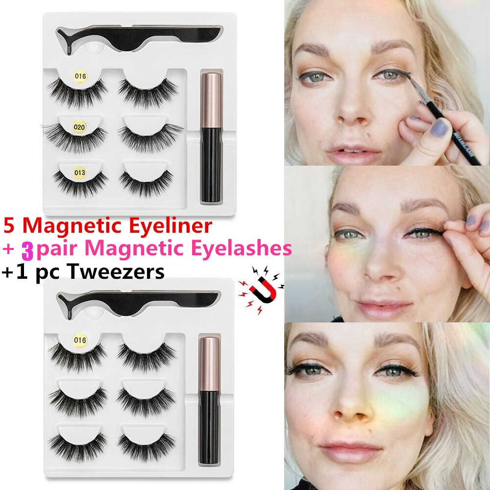 SKONHED 3 Pairs Hot Sale Handmade 5 Magnets Natural Long With Tweezer 3 Pairs Magnetic Eyelashes Magnetic Liquid Eyeliner Eyelashes Extension
