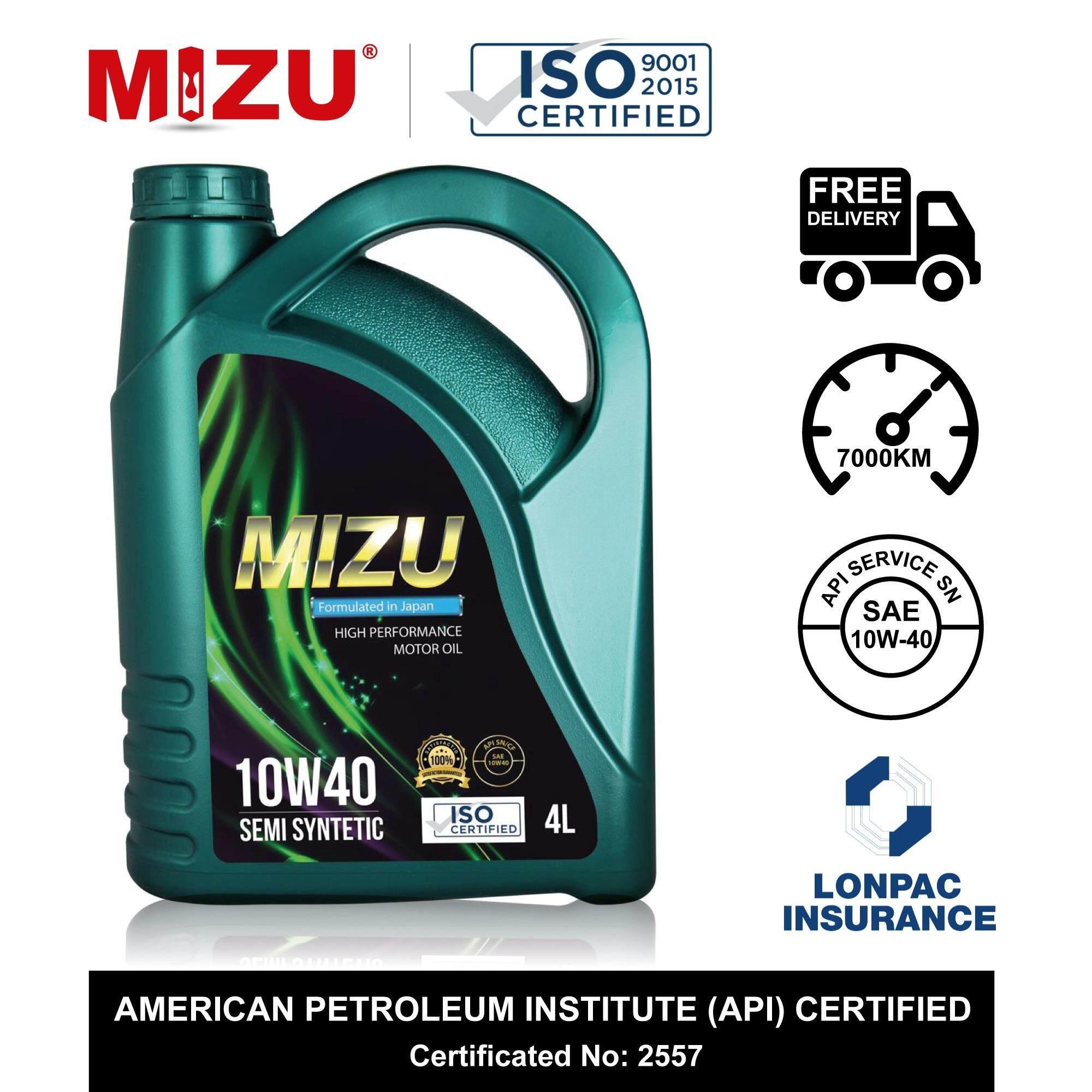 [FREE SHIPMENT ] Mizu Semi Synthetic Lubricant API SN 10W-40 Car Engine Oil  - 4 litres [Free 1 piece MIZU mileage sticker] 10w40 minyak hitam minyak