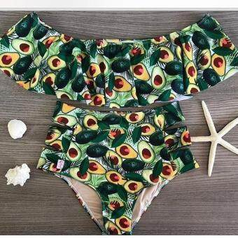8096a254ca Hot Deal High Waist Swimsuit 2018 Sexy Ruffle Swimwear Women Striped  Biquini Off Shoulder Bathing Suit Bikini Set Plus Size Swimwear ราคาช็อก