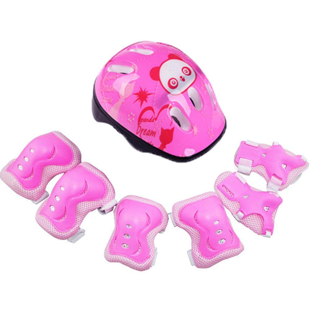 Adjustable Protective Gear Riding Roller Sports Helmet Protector Set Safety Skating Outdoor Wrist Knee 7pcs/set Cycling Pads Safeguard Elbow For Kids