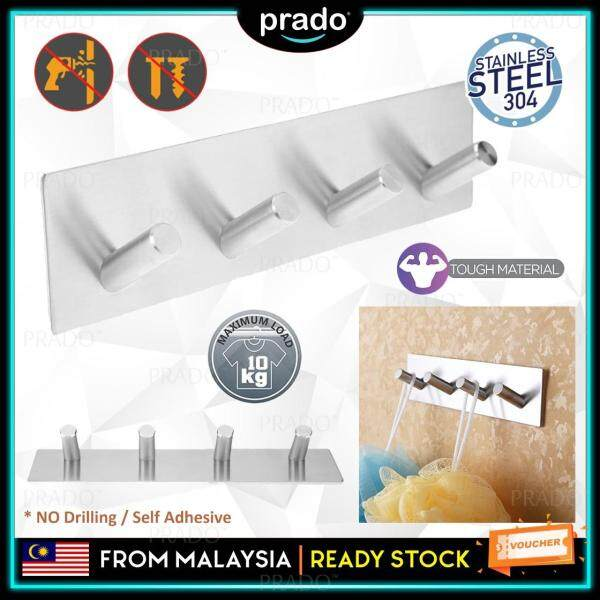 PRADO Malaysia No-Drill 3M Self Adhesive Strong Hook 304 Stainless Steel Key Rack 4-Hook Rail Hotel Kitchen Bathroom Storage Organizer Wall Mount Hangers