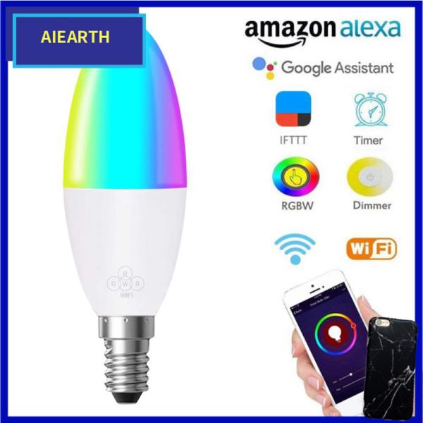 Aiearth-Bóng Đèn Thông Minh Wifi 6W E14 E26 E27 022 Đèn LED RGB Hoạt Động Với Alexa/Google Home 85-265V RGB + Chức Năng Hẹn Giờ Có Thể Điều Chỉnh Độ Sáng Trắng Bóng Đèn Ma Thuật