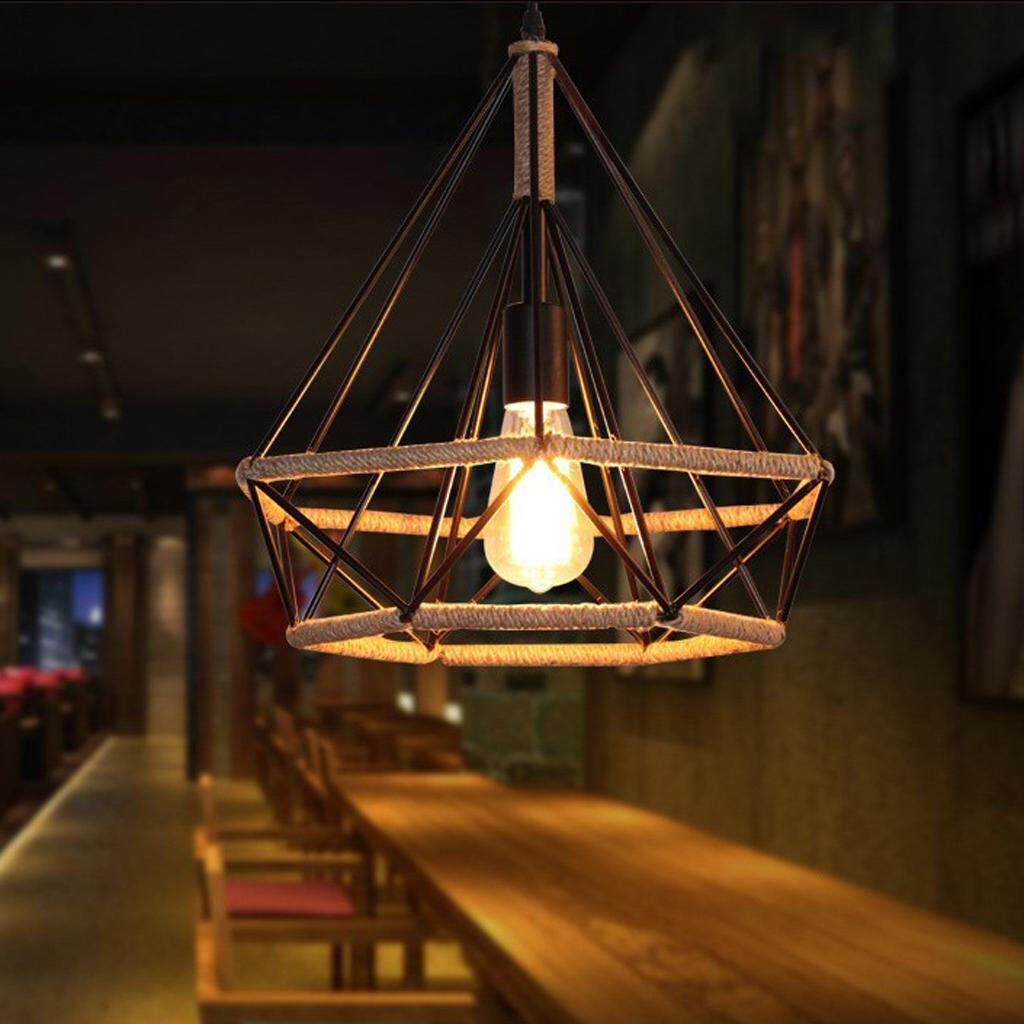 Fityle Industrial Minimalist Iron Diamond Pendant Ceiling Top Light Cover Hanging Lamp Shade Holder for Living Room Aisle Restaurant Bar Decoration