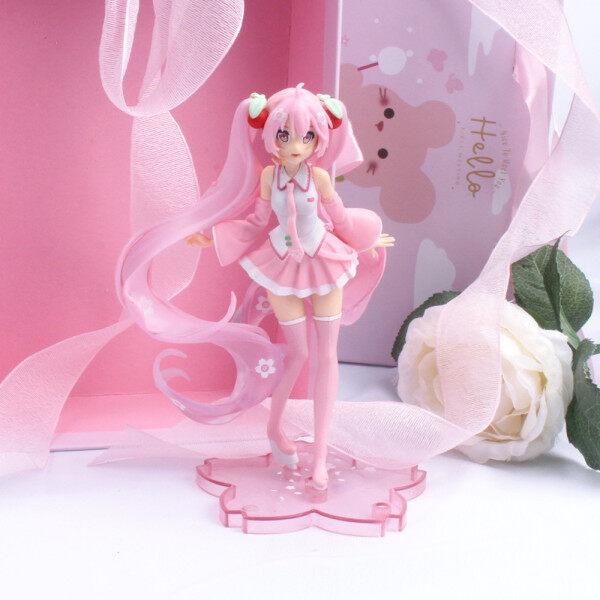 PVC Thu Quà Tặng Màu Hồng Sakura Mô Hình Anime Miku Mô Hình Động Đồ Chơi Con Số Hatsune Miku Đồ Trang Trí Búp Bê